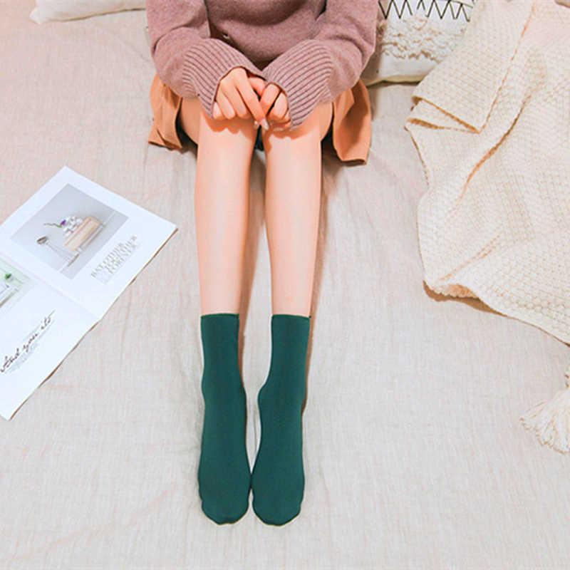 Fsliwy mujer invierno Waremer Thicken lana térmica Cachemira nieve calcetines moda hombres dormir botas de terciopelo sin costuras piso sueño calcetín