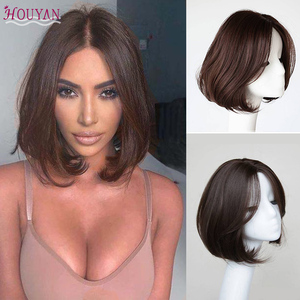 houyan Wig Short Bob Wig Synthetic High Temperature Wig Black Brown For Women Silky Straight Hair