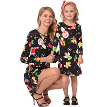 New 2019 Mother and Daughter Family Matching Jumpsuits Mommy & Me Women Long Sleeves Cartoon Print Dress Family Clothes 19NOV22(China)