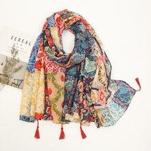 Châle en Viscose avec pampilles florales aztèques pour femme, écharpe de marque de luxe, enveloppe Pashmina, étole, Bufandas, Hijab musulman, haute qualité, 2021