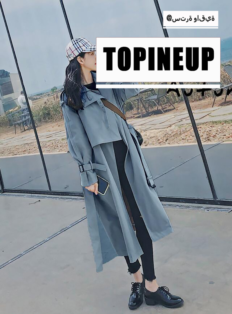 Autumn Winter Overcoat Chic Loose Over Knee Casual   Trench   Coat Lady Harbor Coats Belt Full Sleeve Solid Color