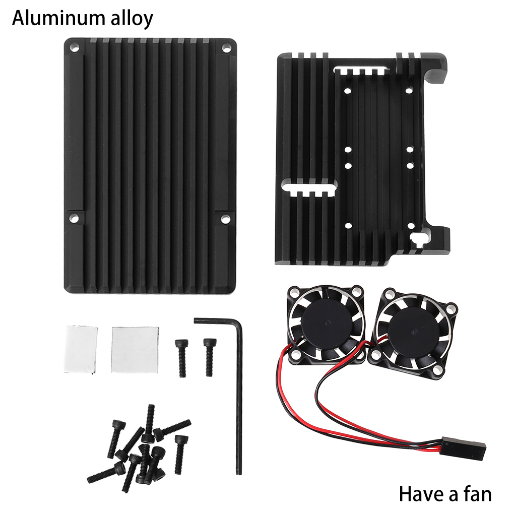 Aluminum Alloy Enclosure Case Metal Shell Black Box Radiating Plate Heatsink Cooler For Raspberry Pi 4 Model B