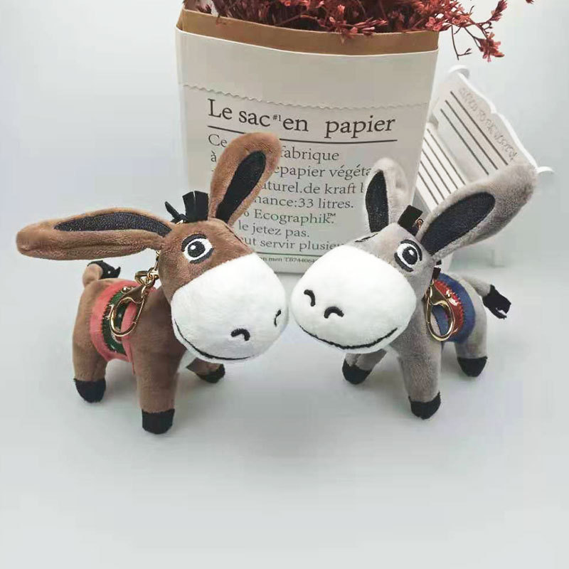 2020 High Quality Cute Donkey Plush Keychain Cartoon Animal Mobile Phone Bag Car Keyring Plush Pendant Fluffy Plush Keyring