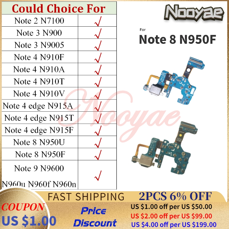 For Samsung Galaxy <font><b>Note</b></font> 2 3 4 <font><b>8</b></font> 9 Edge N9600 N960u N960f N960n N9100 Charger Port <font><b>Board</b></font> USB Charging Flex Cable Microphone Mic image