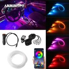 ANMINGPU RGB รถภายในบรรยากาศไฟนีออนไฟ LED Strip App การควบคุมเสียงโหมดหลายโหมด Auto ตกแต่ง Ambient โคมไฟ