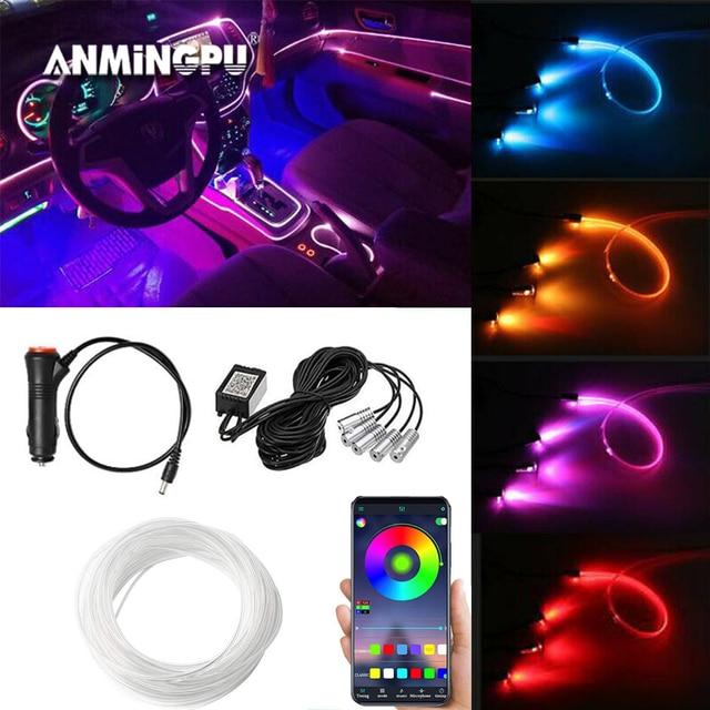 ANMINGPU RGB araba atmosfer iç ışık Neon LED şerit işıklar App ses kontrolü çoklu modları otomatik ortam dekoratif lamba