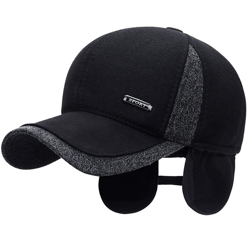 Snapback Hats Fitted-Cap Baseball-Cap Ear-Flaps Wool Warm Thicken Winter Cotton Mens