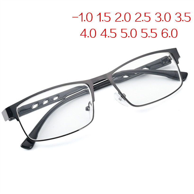 -1.5 -2 -2.5 -3 -3.5 -4 -6.0 Finished Myopia Glasses Women Men Retro Metal Frame Square Students Short Sight Eyewear For Unisex