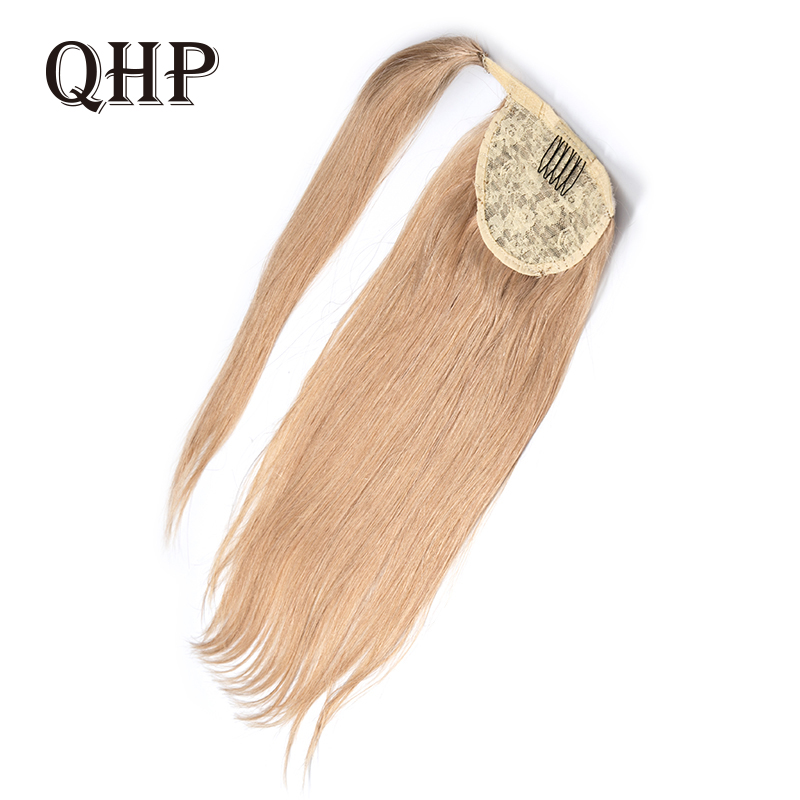 Ponytail Human Hair Remy Straight European Ponytail Hairstyles 120g 100% Natural Hair Clip In Extensions