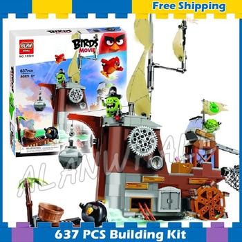 637pcs The Birds Movie Piggy Pirate Ship 10509 Building Kit blocks Model Children Toys Games DIY Set Bricks Compatible With Lago