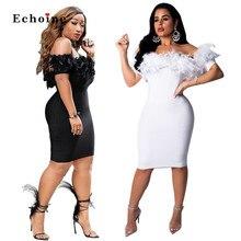 Vestido Sexy mujer pluma Slash cuello tejido elástico calle Chic talla grande señora encantadora vaina elegante Vestido fiesta mujer ropa