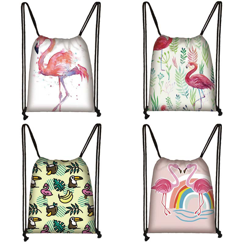 Cartoon Flamingo Print Drawstring Bag Women Travel Bag Teenager School Bag Brown Girl And Boy Backpack Fashion Storage Bags M070