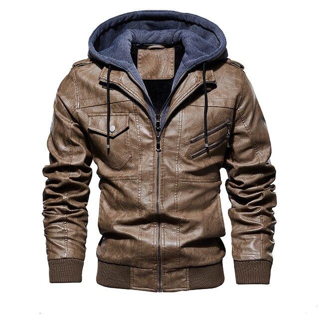FGKKS hommes moto en cuir vestes hiver mâle mode décontracté à capuche Faux veste hommes chaud vestes en cuir synthétique polyuréthane manteaux 2
