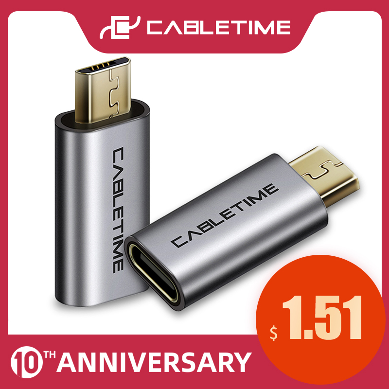 CABLETIME USB C To Micro USB Mobile Phone Adapter Micro Usb Adapter Connector For Xiaomi Samsung Galaxy Huawei USB Type C C006