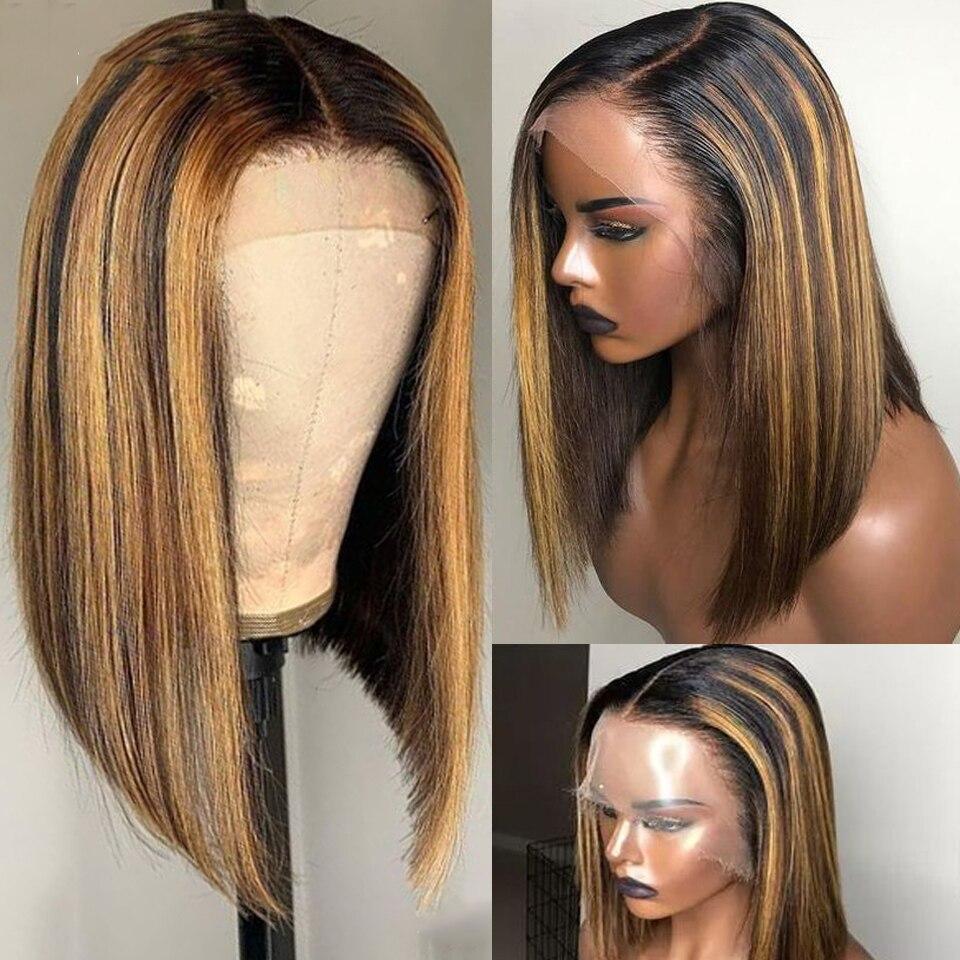 Highlight Honey Blonde Blunt Cut Bob Wig 13x6 Pre Plucked Ombre Straight Bob 150 Transparent Lace Wig 4/27 Brazilian Human Hair