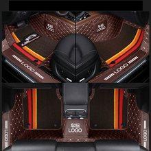 Özel Fit araba paspaslar su geçirmez deri doğa dostu malzeme özel araba için çift katmanlar 3 adet tam set Logo ile 006