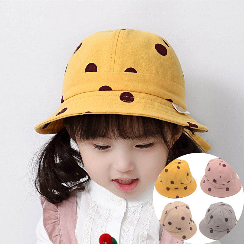 Fashhion Summer Dot Printed Bucket Hat For Kids Adjustable Outdoor Beach Boys Girls Casual Panama Cap