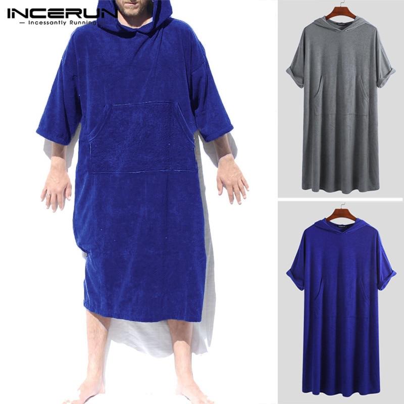 INCERUN Fashion Mens Bathrobes Solid Half Sleeve Pockets Quick-dry Hooded Beach Robes Pajamas Men Towel Bathrobe Homewear 2019