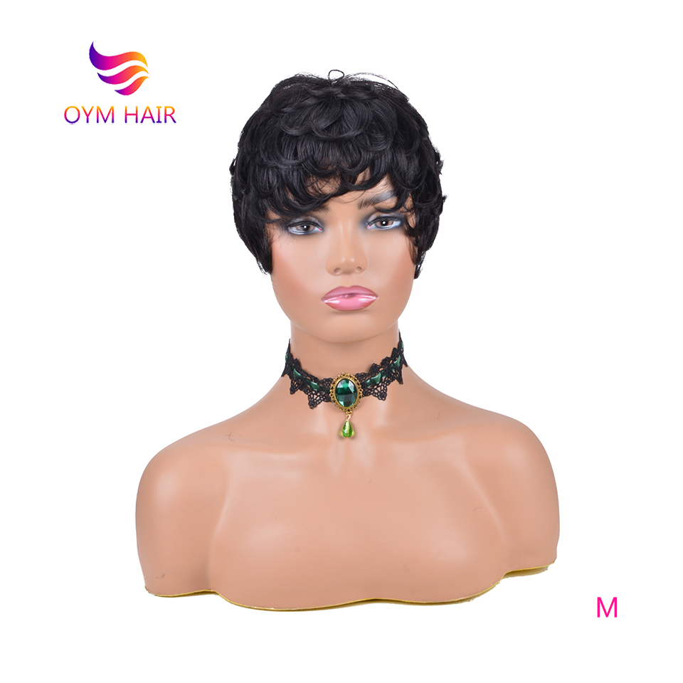 OYM HAIR Pixie Cut Wigs Straight Hair Peruvian Remy Human Hair Wigs For Women Natural Color 150% Short Wigs Free Shipping