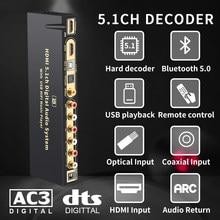 Hd815bt 5.1 conversor de áudio decodificador dac dts ac3 flac ape 4k * 2k hdmi para hdmi-compatível conversor divisor digital spdif arc