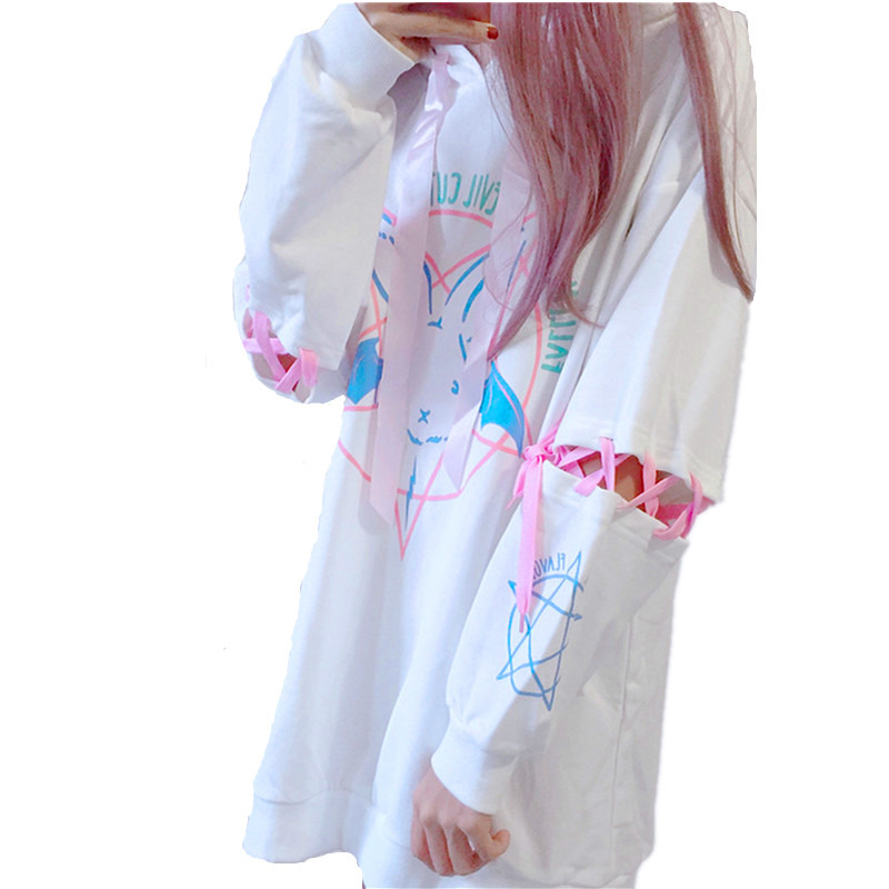 Harajuku Lolita Style Women Sweatshirt Rabbit Pentacle Print Lace Up Sleeves Hoodies Casual Loose Oversized Long Pullocer Top