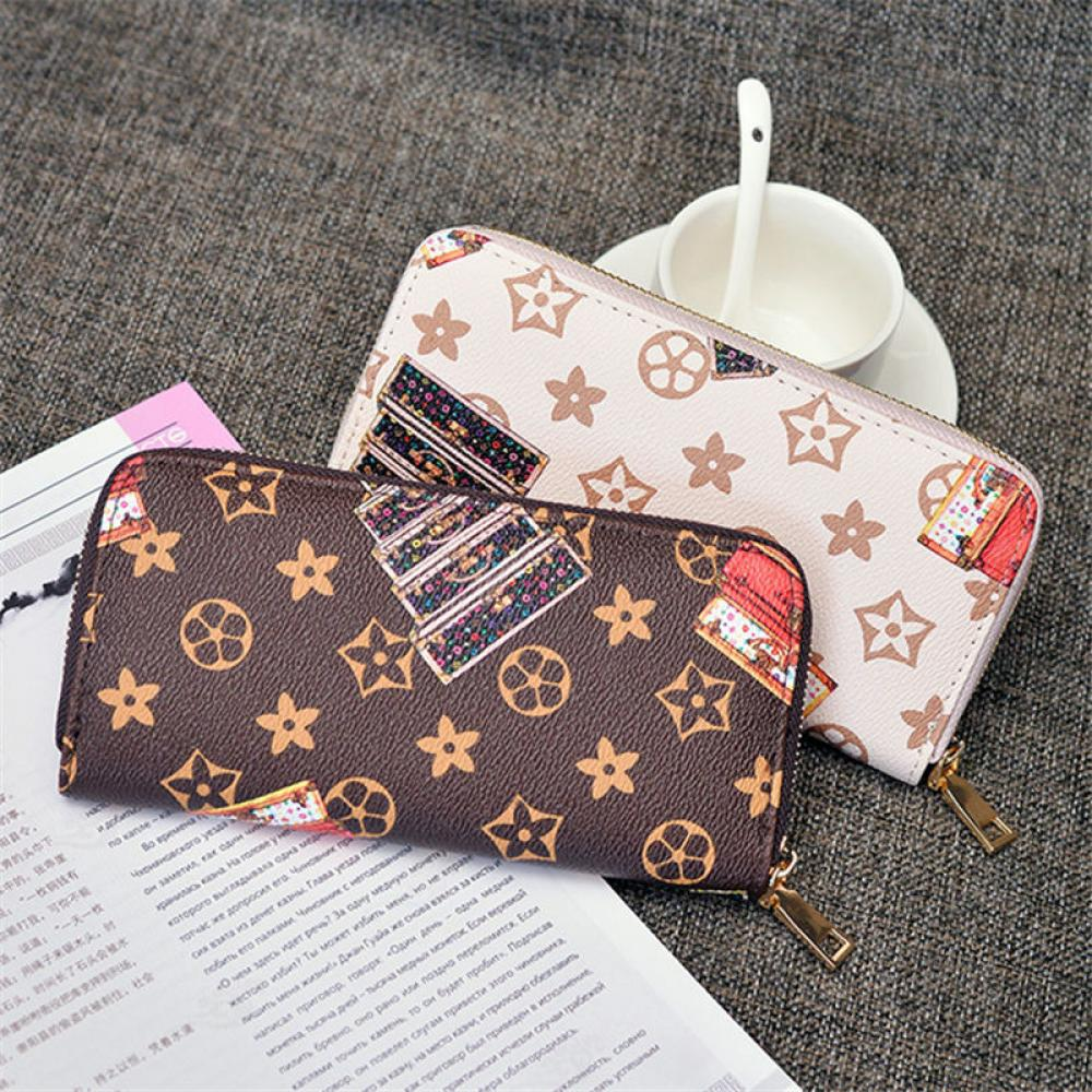 Fashion Classic Retro Presbyopia Wallet Ladies Long Casual Clutch Hot Sale Pu Leather Zip Female Phone Wallet Coin Purse