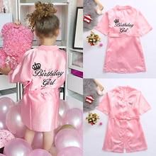 Детский халат, сатиновое детское летнее кимоно, банный халат подружки невесты, платье на день рождения для девочек, Шелковый детский халат для девочек, ночная рубашка