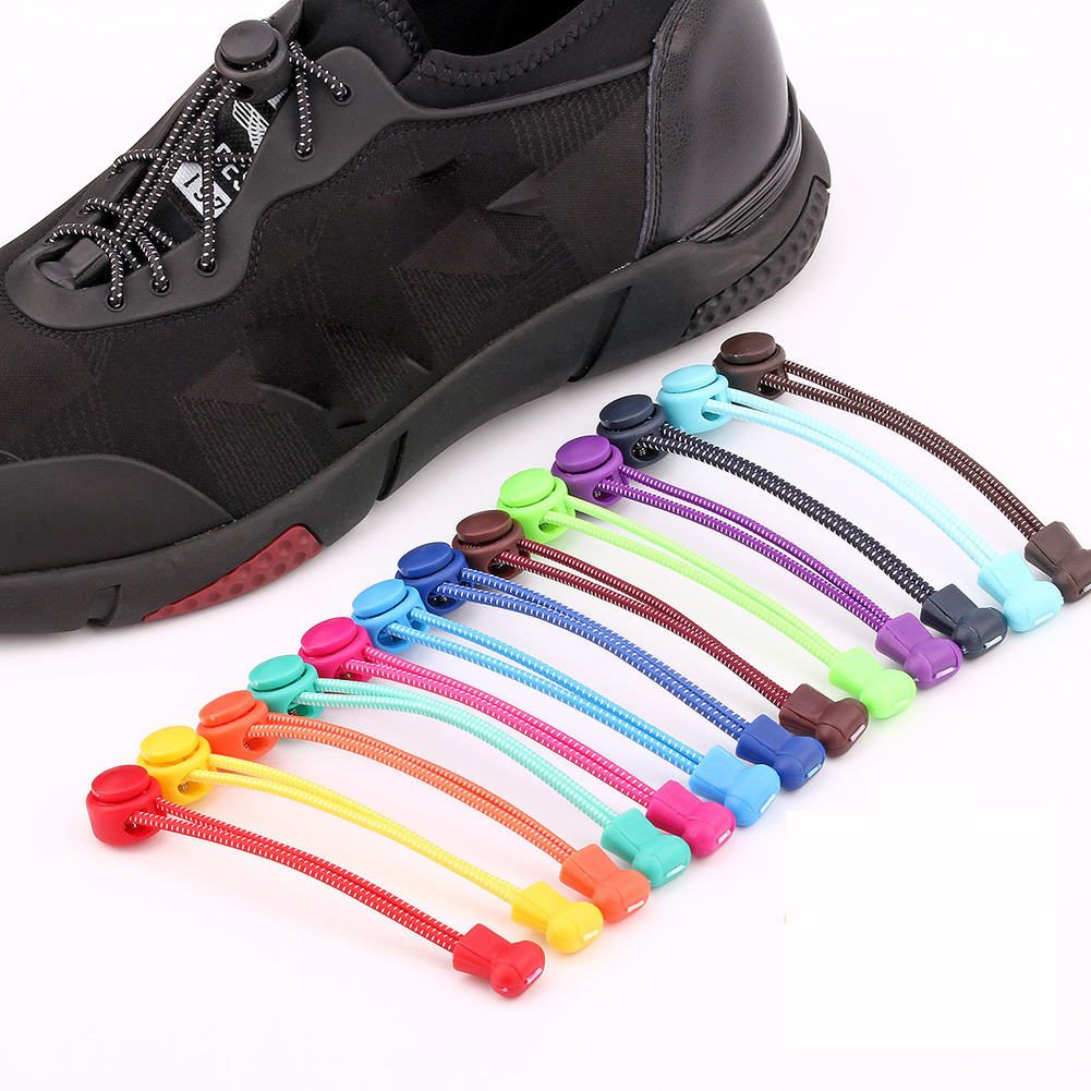 1Pcs Unisex No Tie Locking Round Shoelaces Solid Elastic Shoelace Sneakers Shoe Laces Quickly And Easy Sports Outdoor Shoelace