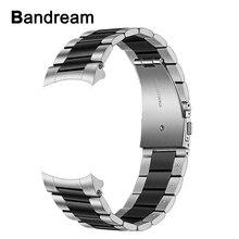Bracelet de montre en acier inoxydable solide sans fente, pour Samsung Galaxy Watch 46mm / Gear S3 à dégagement rapide, bracelet de détachement à la main