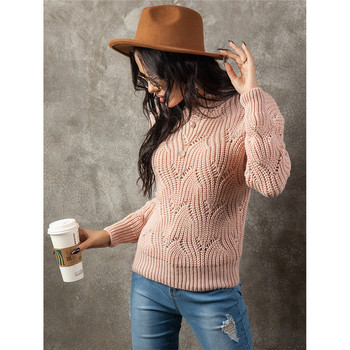 Women Knitted Sweater Solid Color Hollow Out Long Sleeve Pullover Versatile Casual Crew Neck Sweater Knitwear Pullover Sweater spring summer loose women pullover sweater hollow out sexy lace knitted plaid top long sleeve thin female pullover and sweater