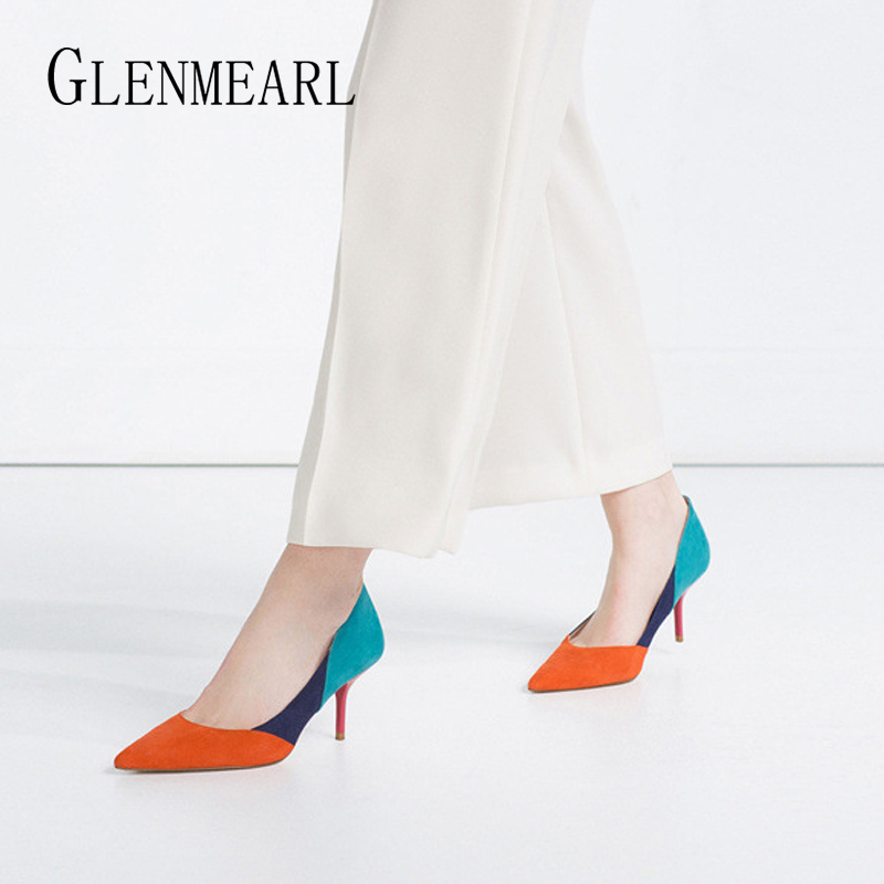 Women High Heels Brand Female Pumps Fashion Color Mixed Thin Heel Pointed Toe Wedding Shoe Party Shoes Spring Summer New Arrival