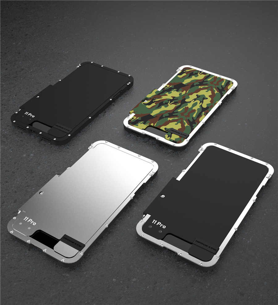 Armor King Stainless Steel Logam Flip Case untuk iPhone 11 11 Pro Max XS XR Shockproof Cover UNTUK iPhone X 8 7 Plus 6S Cover Mewah