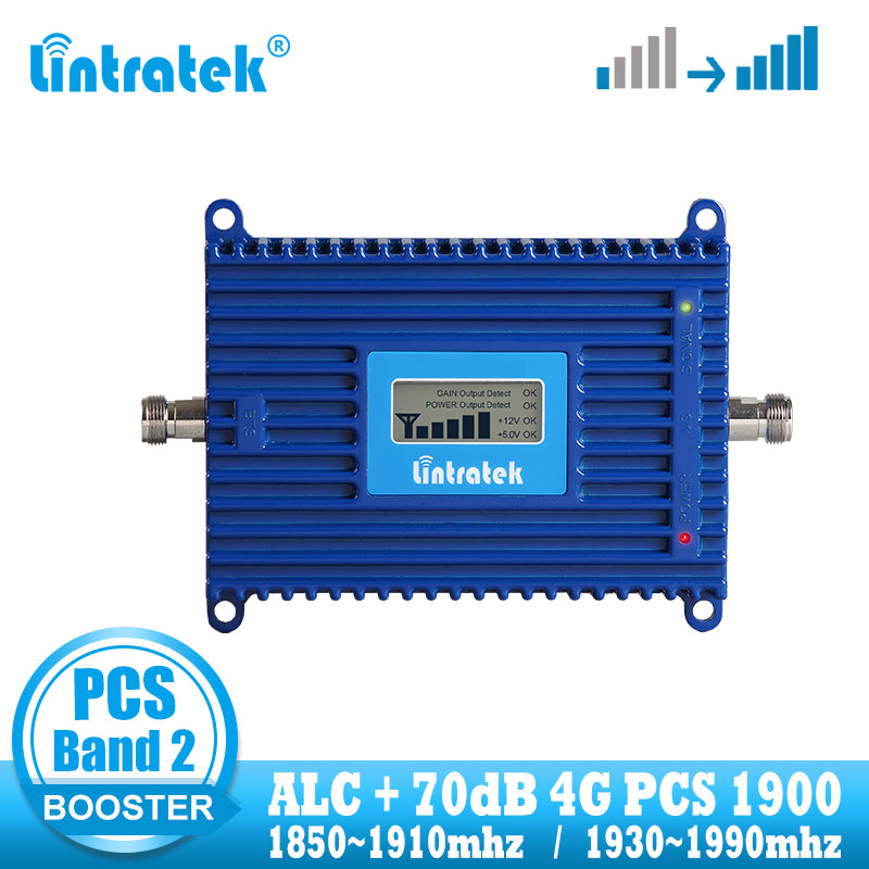 Lintratek PCS 1900mhz 4G Signal Booster 1900 Mobile Cellular Signal Booster Repeater Amplifier 70dB + ALC Band2 Internet Network