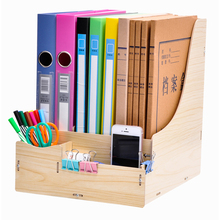 DIY File Trays Bookends Wood File Holder 4 Layers Wood Paper Tray Stationery Holder Desk Organizer