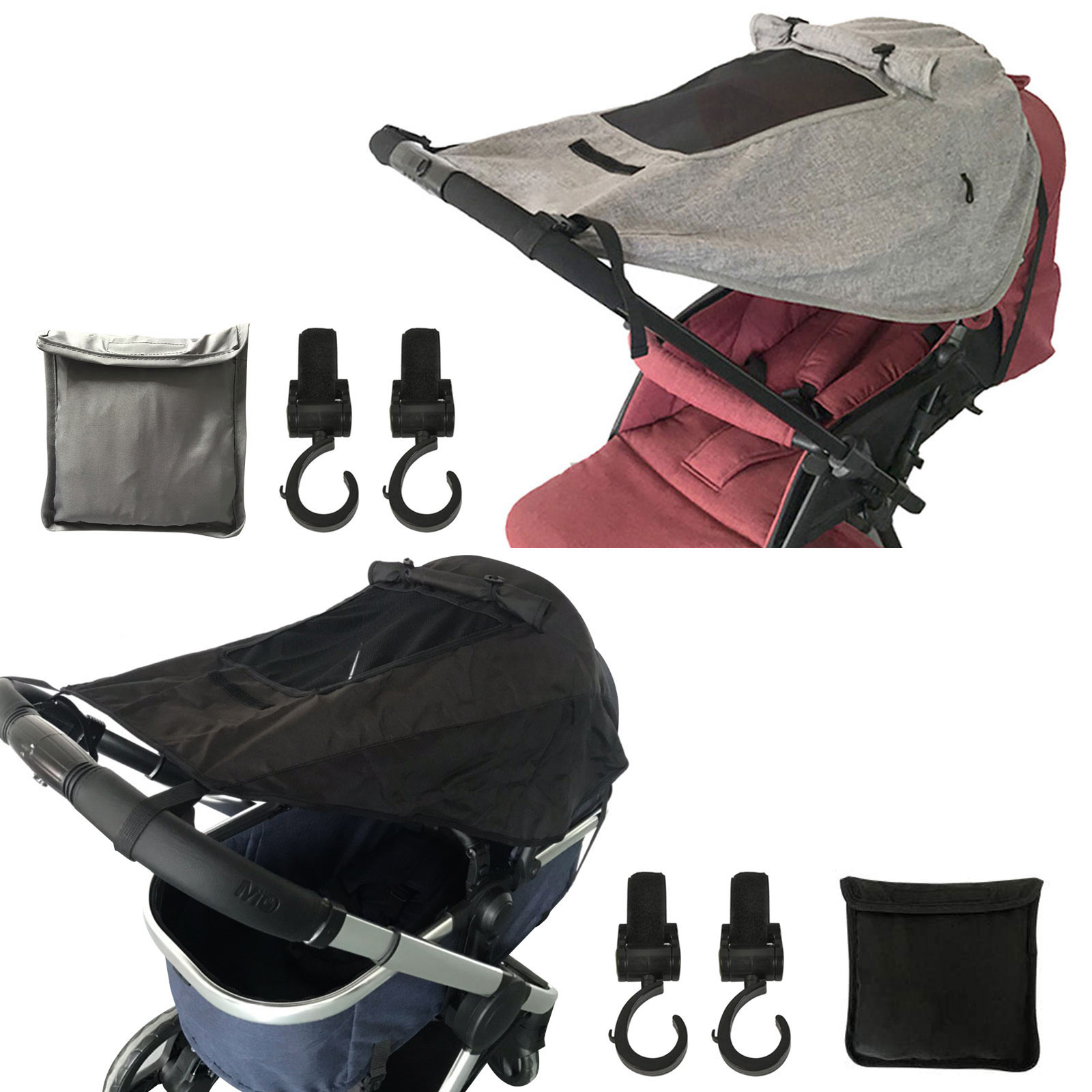 Universal Sun Shade for Pushchairs UV Sun Protection Waterproof Awning with Viewing Window and Stroller Hooks for Prams Buggy