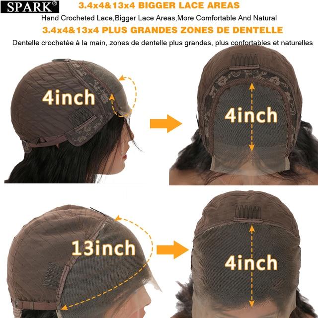 شرارة أومبير تسليط الضوء على الجسم موجة 4x4 الدانتيل إغلاق شعر مستعار 30 32 بوصة 180% الكثافة البرازيلي مموج 13x4Lace أمامي خصلات الشعر المستعار الإنسان ريمي 2