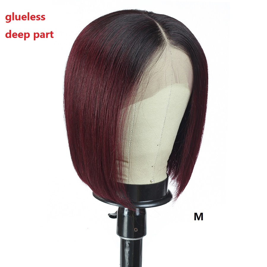 Red 99J Short Ombre Human Hair Wig Straight 13*4 Lace Front Human Hair Wigs Pre Plucked 150% Density Brazilian Bob Wig Remy Hair