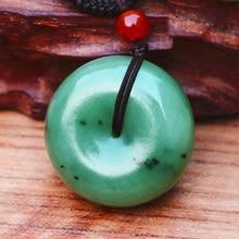 (Certificate) Natural Green HETIAN Jade Jasper Pendant Round Peace buckle Necklace Women Mens Jewelry Free Rope