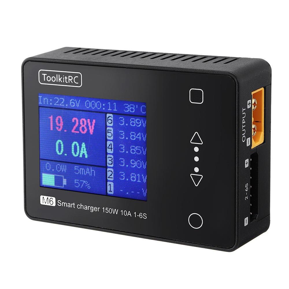 toolkitrc m6 mini 150 w 10a carregador de bateria inteligente com placa de carregador xt60 para