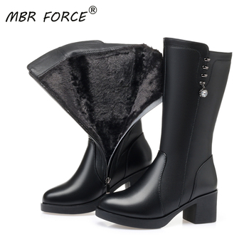 MBR FORCE High Quality Waterproof Women All Wool Winter Mid Calf Boots Female 2020 New Snow Boots Fashion Woman Motorcycle Boots asumer new arrive youth fashion height increasing mid calf boots for women high quality pu soft leather winter warm snow boots