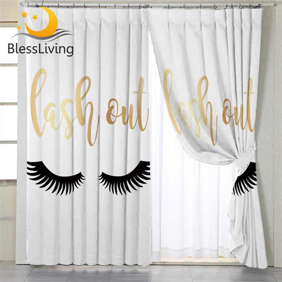 BlessLiving Eyelash Print Window Curtains Gold White Living Room Curtains Girls Cute Eyes Bedroom Accessories Curtain With Hooks