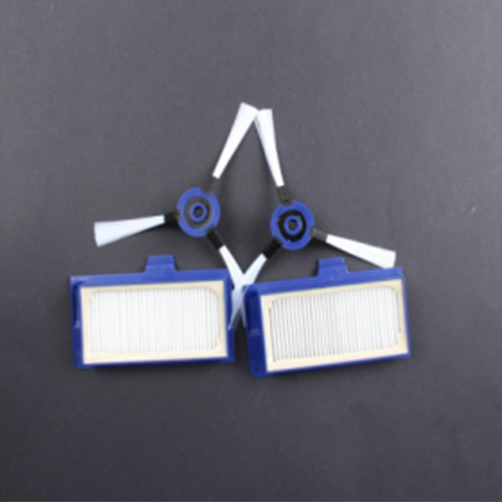 2PCS HEPA Filter + 2pcs Side Brush For Rowenta ZR710101 Vacuum Cleaner Parts  Cleaning Filter Dust Filter