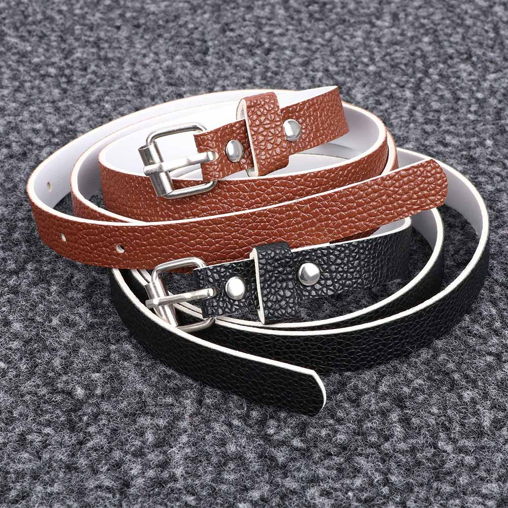 Women Waist Dress Access Thin Faux Leather Belt