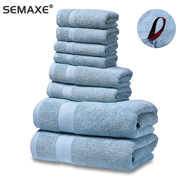 SEMAXE Luxury 100% Cotton Bath Towel Set.Hotel Quality.Premium Collection Bathroom.Soft,Highly Absorbent,Blue (The New Listing