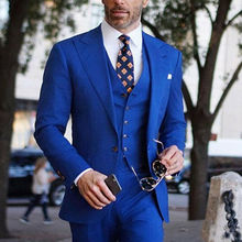 Royal-Blue-Suits Jacket Customize Pant Formal Business Vest One Prom-3pieces One