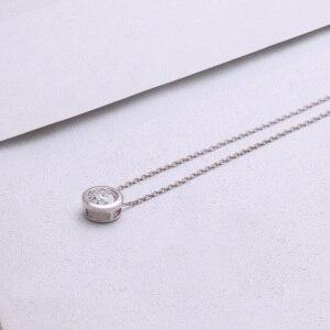 Image 3 - DovEggs 14K 585 White Gold Center 2ct 8mm F  Color Moissanite Pendant Necklace for Women Gold Necklace