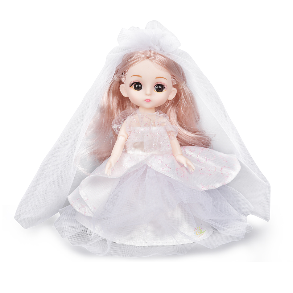 6pcs 5.9inch 13 Moveable Fashion bjd Boneca Dolls Joint body Ball Jointed Reborn Wedding Dress Make Up Dolls Toys Gift For Girls 7