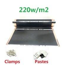 MINCO HEAT AC220V инфракрасный, проходящий под полом нагревательная пленка 220 Вт/м2 теплый коврик с зажимами изоляционные пасты