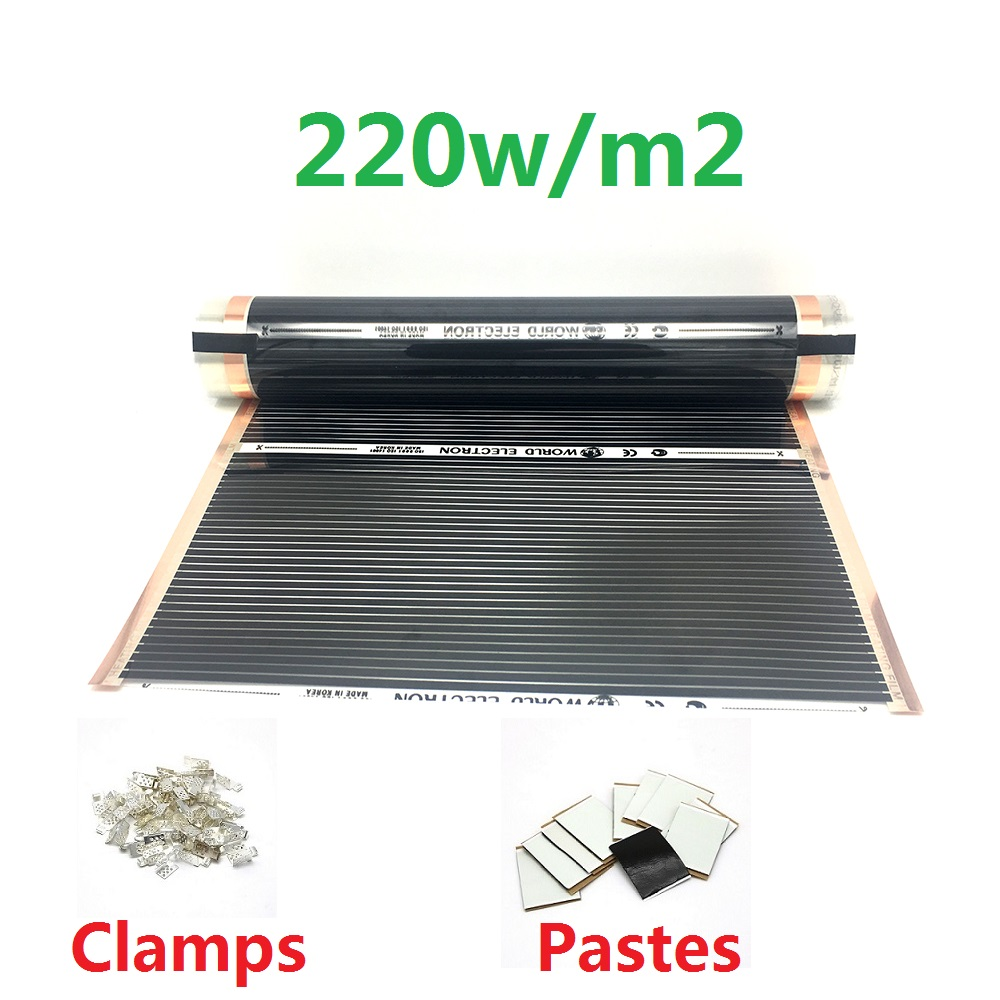 MINCO HEAT AC220V Infrared Underfloor Heating Film 220w/m2 Warm Mat With Clamps Insulation Pastes