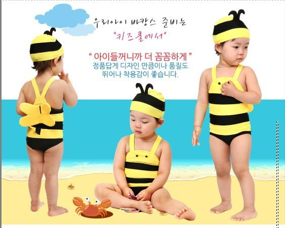 Cute Little Bee KID'S Swimwear BOY'S Girls Siamese Swimsuit Infant Baby South Korea Cartoon Swimwear